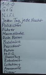 Die letzte 2004er Schön-Wetter Setlist (ohne Zugabenblock)