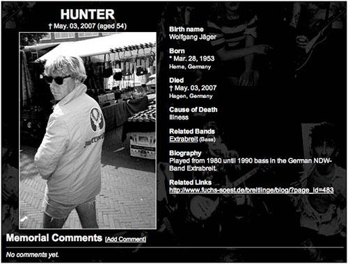 Hunters Gedenktafel
