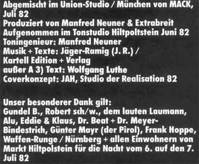 Die Credits der LP